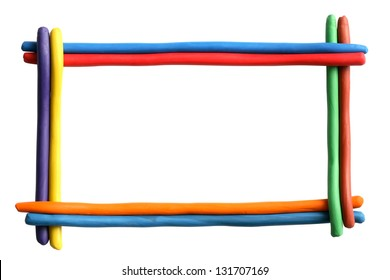 Picture frame made from color plasticine isolated on white background. Clipping path is included