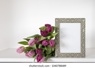 Picture frame mockup with tulips