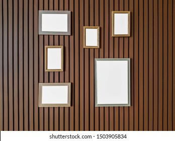 picture frame on a brown wooden battens