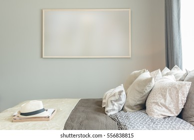 picture frame on wall in cozy bedroom interior design