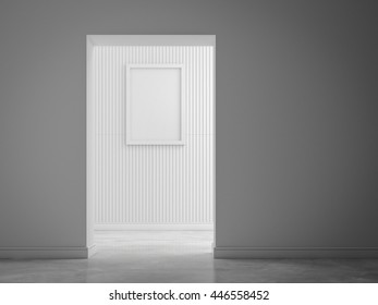 picture frame on white wall 3d rendring