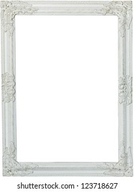 Picture frame, painted white. Isolated patch and over white background