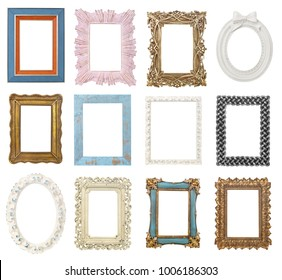 Picture frames collection isolated