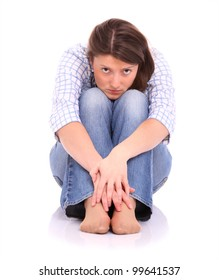 A picture of a frustrated woman sitting over white background