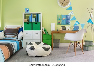 Picture of functional stylish furniture in new child room