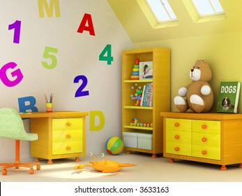 Picture of a girl, book covers, and design on the wall are my own images. 3D rendering of a children room