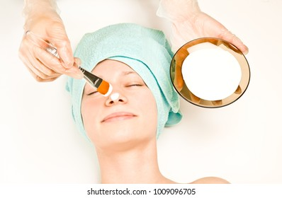Picture of a girl at spa procedures.