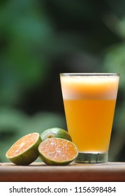 Picture of a glass of orange juice above wooden plate on blurred green leaf background. Selective focus