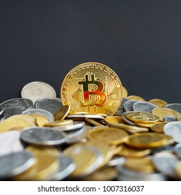 Picture of gold bitcoin. Digital money concept.