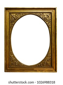 Picture gold wooden frame on white isolated background