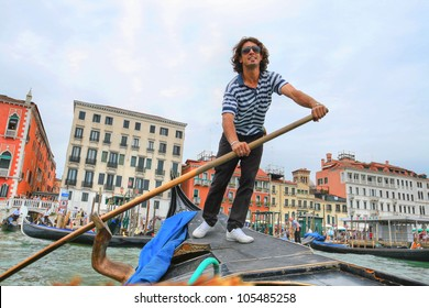 Picture of the gondolier - a typical Italian in Venice, Italy.