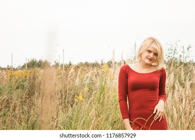 Picture of gorgeous young woman standing in the field. Romantic blonde woman walking in amazing field. Red dress.
