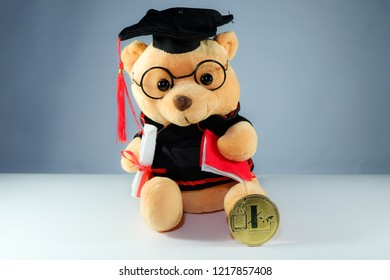 A picture of graduation bear and Lite coin. Education industry will use crypto currency in the future.