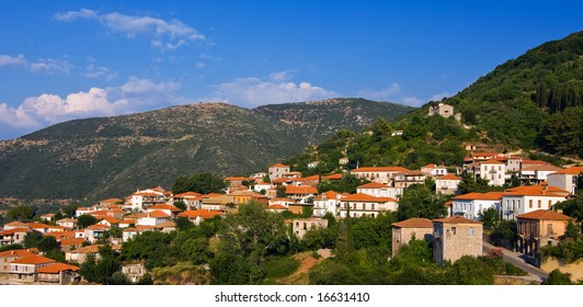 Picture of a Greek village on the mountains of the Peloponnese.