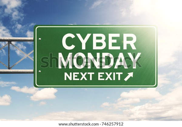 Picture of a green signpost with Cyber Monday text under sunlight