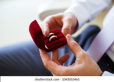 Picture of groom holding golden wedding rings