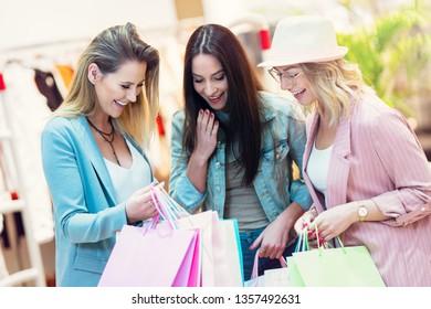 9e38a11ef Young Girls Shopping Bags Shop Stock Photo (Edit Now) 104929490 ...