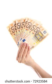 A picture of a hand holding euro fifty-euro notes over white background