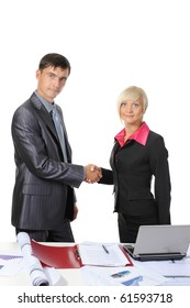 picture of handshake two business partners, when signing contract. . Isolated on white background