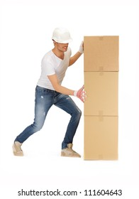 picture of handsome builder with big boxes.