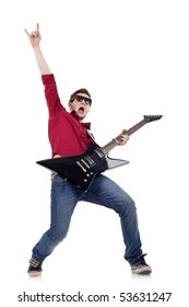 Picture of handsome guitarist in sunglasses isolated on white making a rock gesture