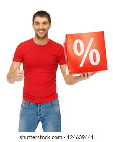 picture of handsome man with percent sign