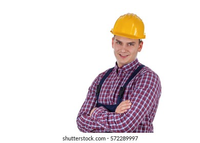 Picture of a handsome young engineer - isolated background