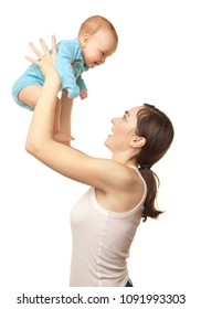 Picture of happy beautiful mother holding cute baby and having fun isolated on white.