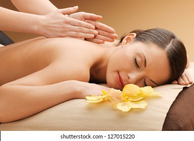 picture of happy beautiful woman in massage salon