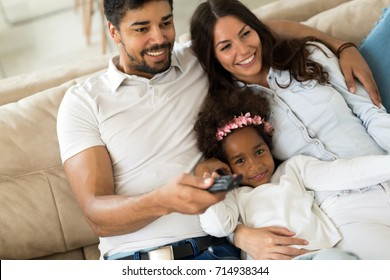 Picture of happy family spending time together