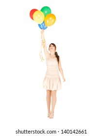 picture of happy girl with colorful balloons