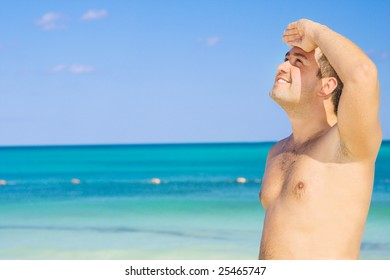picture of happy man on the beach