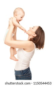 Picture of happy mother with adorable cute baby isolated on white
