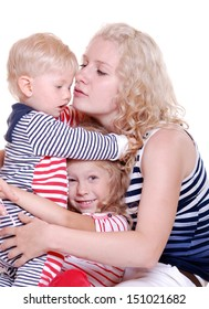 picture of happy mother with two small children on a white background