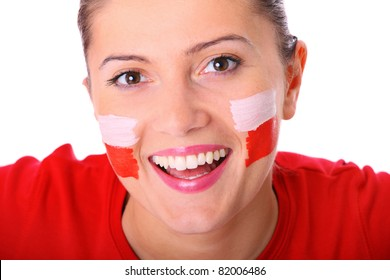 A picture of a happy Polish female fan cheering against white background