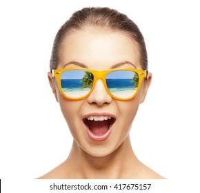 picture of happy screaming teenage girl in shades
