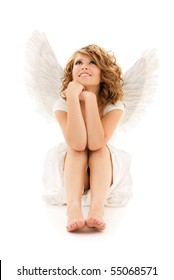 picture of happy teenage angel girl over white