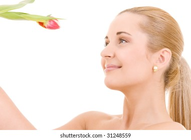 picture of happy woman with flower over white