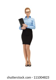 picture of happy woman with folder in specs