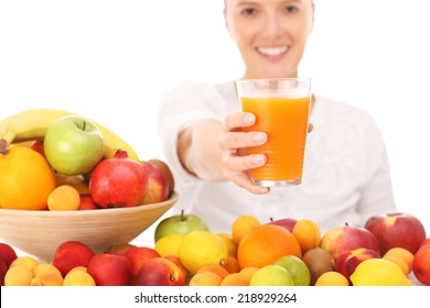 A picture of a happy woman with fruit juice over white background