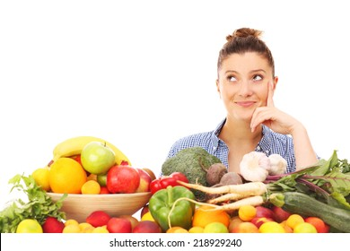 A picture of a happy woman with fruits and vegetables over white background