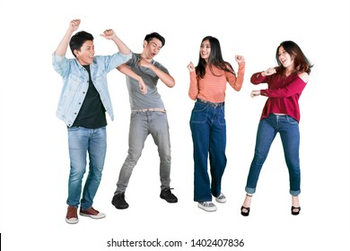 Picture of happy young people dancing together by celebrating their success in the studio