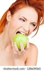 picture of healthy woman biting green apple