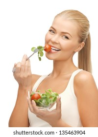 picture of healthy woman holding bowl with salad