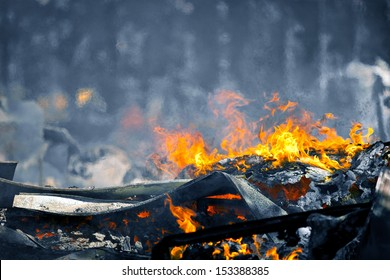 Picture of Heat caused by a Very hot Fire creating air movement effect. Cold image color with hot fire for more color contrast.