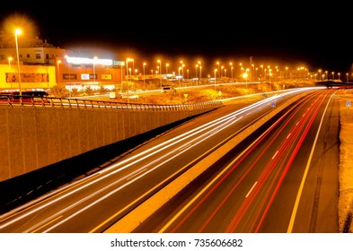 Picture of an Highway Road in the Night Time