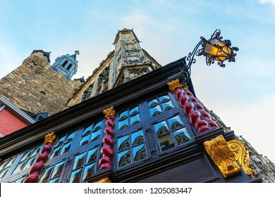 picture of an historic building and Granus Tower in Aachen, Germany
