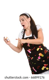 Picture of humorous look at a typical housewife.  Parody.