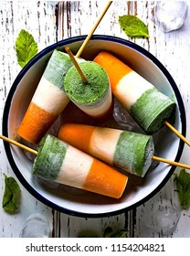 Picture of ice creams in tricolor. Popsicle made on independence day for the freedom of country in 1947.