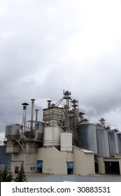 Picture of an industry landscape with great clouds and materials